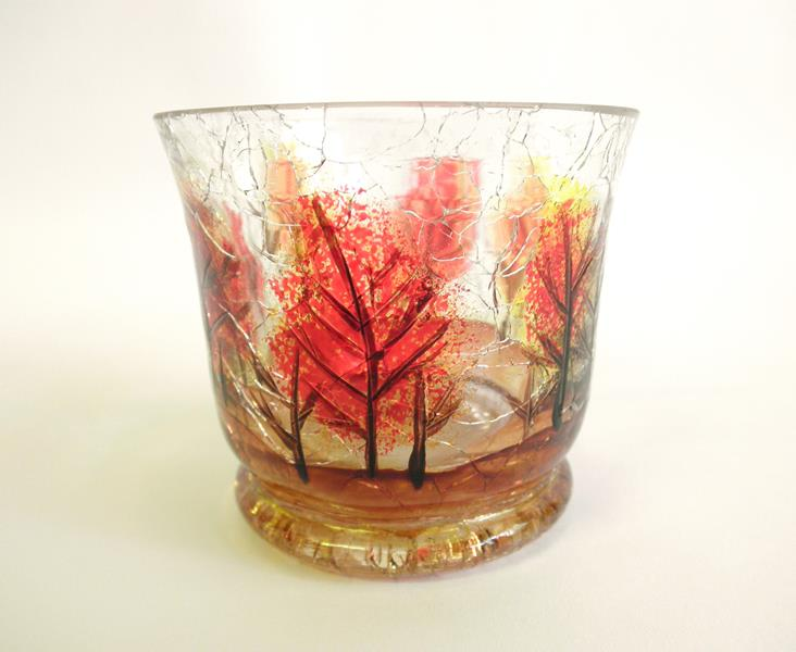 Autumn Leaves Crackle Tealight Holder