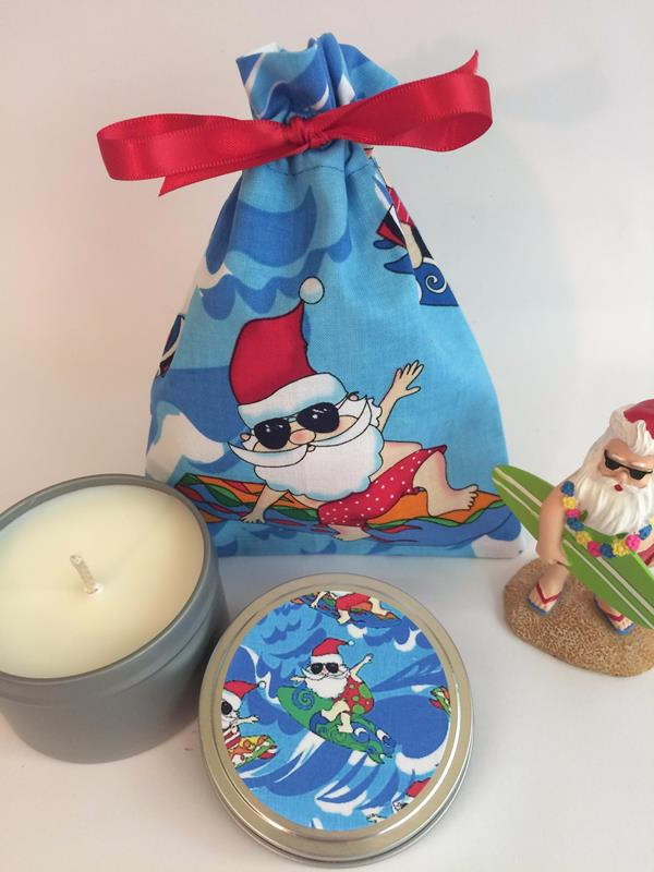 Surfing Santa Candle Tin
